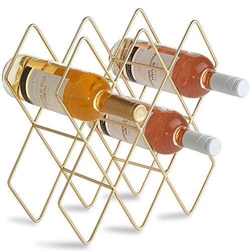 VonShef 10 Bottle Wine Rack Freestanding Bottle Holder Countertop Storage Metal Brushed Gold Geometric Design for Red White Wine