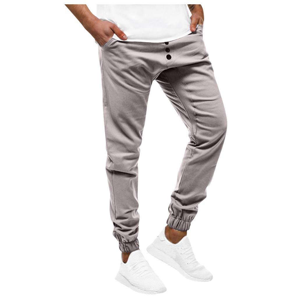 Men's Sports Pants Cargo Joggers Men Skinny Tapered Sweatpants Slim Gym Pants Gray by LOVOZO