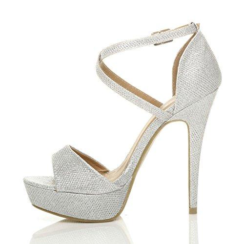 aperta incrociati scarpe alto taglia cinturini sandali punta Donna Scintillio Argento tacco fibbia qpBWnxw0R