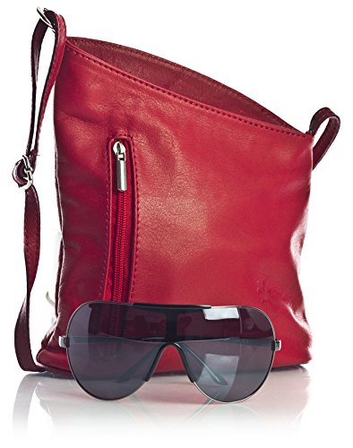 Italian Womens Genuine Trim Cross Red Big Deep Body Cross Small White Shoulder Handbag Leather Shop Bag Soft Body qpccYAETg