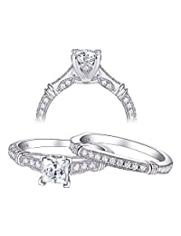 Newshe 1ct Princess White AAA Cz 925 Sterling Silver Engagement Wedding Ring Set for Woman Size 5-10