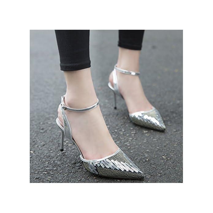 Ajunr Sandali Da Donna Alla Moda Scarpe 8cm Alto Tacco Femmina Tallone Sottile Allacciata Strap Pelle Luminosa