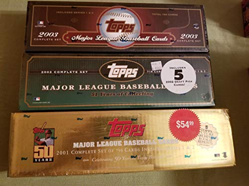 Lot of 3 Sets From Topps. 2001 2002 2003 Baseball Card Complete Factory Sealed Sets 2003 Topps Baseball Card
