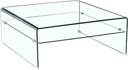 Meubletmoi Table Basse Verre Trempe Design Carre Avec Etagere