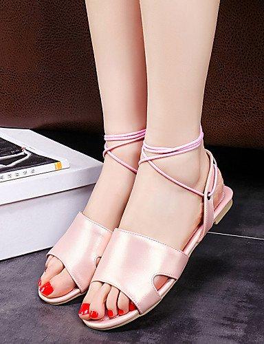 LFNLYX Zapatos de mujer-Tacón Plano-Punta Abierta / Talón Descubierto / Tira en el Tobillo-Sandalias-Exterior / Casual / Vestido-PU-Azul / Rosa White