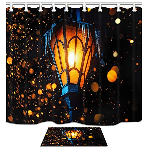 Magic Fairy Lantern Shower Curtain Bath Rugs, Old Street Lantern Shines on Street At Night on House Wall Christmas Or Halloween Deocr, 69X70in Fabric Bathroom Curtains with 15.7x23.6in Flannel Non-Sli ()
