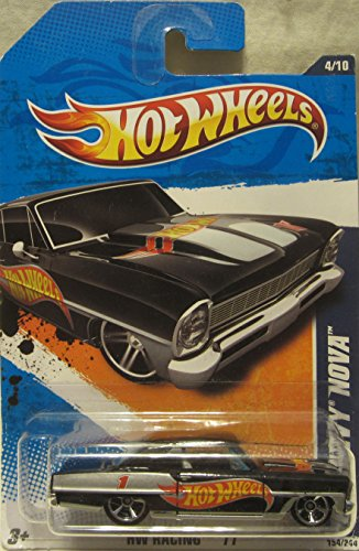 Chevy Nova Sales - Hot Wheels 2011 HW Racing 4/10 Black '66 Chevy Nova 154/244