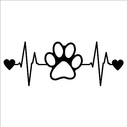 Dog Paw Print Heartbeat Decal Vinyl Stickercars Trucks Vans Walls Laptop Black 65 X 25 Incci1488