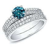 Romantic Fate Blue Crystal 2 Circle Bridal Sets Multiple Row of Zircon Silver Plated Ring 9#