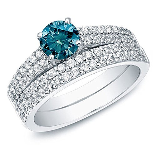 Romantic Fate Blue Crystal 2 Circle Bridal Sets Multiple Row of Zircon Silver Plated Ring 9# by Romantic Fate