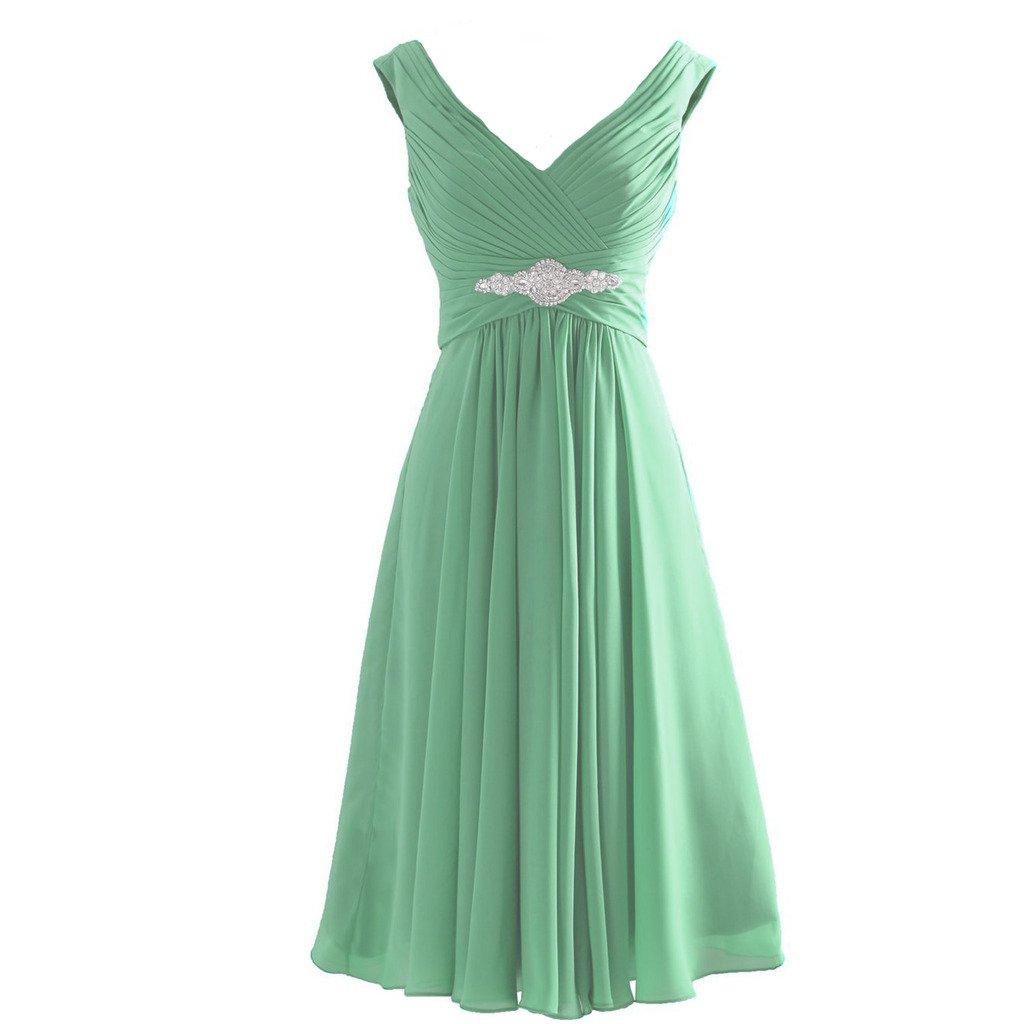 Dark Mint Kivary Short Knee Length A Line V Neck Prom Dresses Wedding Party Cocktail Gowns