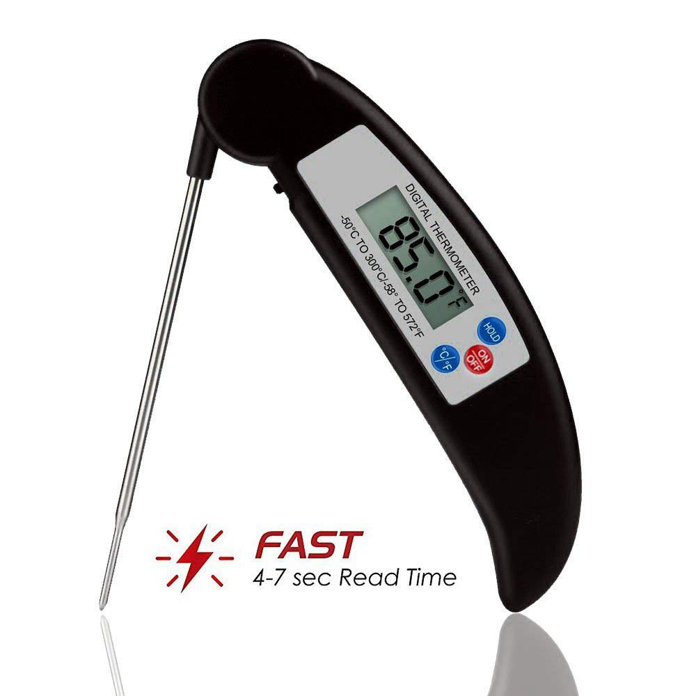 Meat Thermometer, Zebre Instant Read Super Fast Accurate Digital Electronic Food Cooking Thermometer with Collapsible Internal Probe, Suitable for Kitchen,Grill,Candy Making,BBQ,and Bath Water(Black)