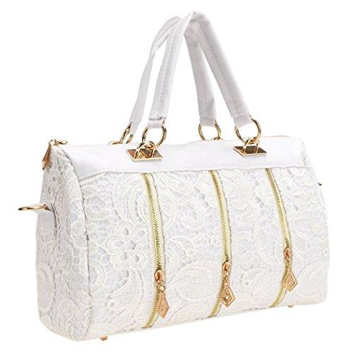 Lace Leather Tote (eshion Womens Shoulder Tote Handbag PU Leather Lace Hobo Purse Cross Body)