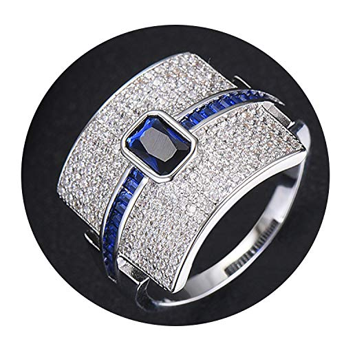 Luccaful Luxury Statement Stackable Ring for Women Wedding Cubic Zircon Engagement Dubai Punk Bridal Top Finger Rings,9,Blue White Gold ()