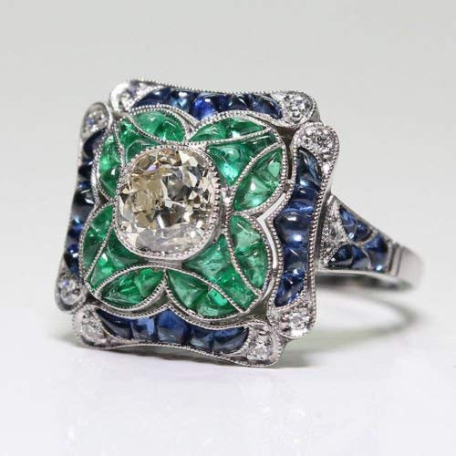 Yuren 925 Sterling Silver Vintage Emerald Ring Blue Sapphire White Topaz Ring Women Wedding Fashion Jewelry Size 6-10 (US Code 6)