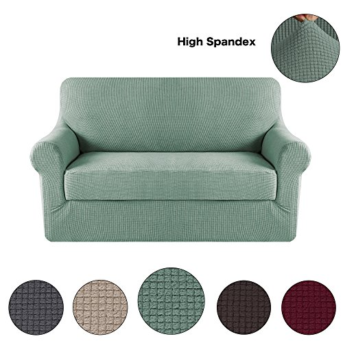 Turquoize 2-Pieces Spandex Stretch Slipcover for Loveseat Sofa Covers Anti-Slip Couch Slipcover Highly Fitness (Loveseat,Dark Cyan)