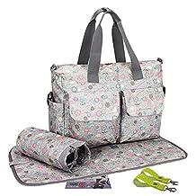 3Pcs LANDUO Women's Baby Diaper Nappy Tote Bag Large Light Gray