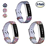 Fitbit Alta HR and Alta Bands, Konikit Soft Adjustable Replacement Band Accessory with Secure Watch Clasps for Fitbit Alta, Alta HR, Cute Patterns, Pack of 3 (Pattern 4)
