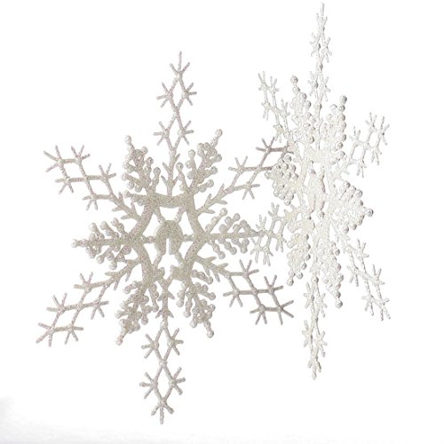 Factory Direct Craft Package of 12 Plastic 11 Inch Iridescent White Glitter Covered Snowflake Ornaments for Winter Weddings, Tree Trim, and Decorating