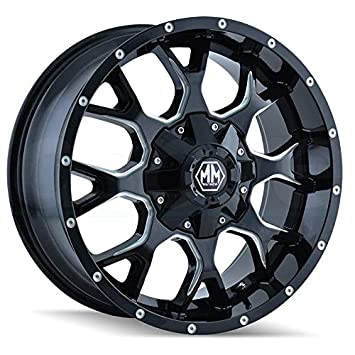 20x9//12x139.7mm Mayhem Warrior 8015 Black Wheel with Milled Spokes