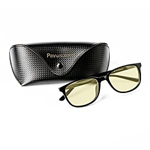Pavoscreen Full Rim Advanced Computer Reading & Gaming Glasses Anti Harmful Blue Light Anti-Glare and Reflection UV Rays Protection Flexible TR90 Unbreakable Frame - Fashion and Dynamic Style/Black