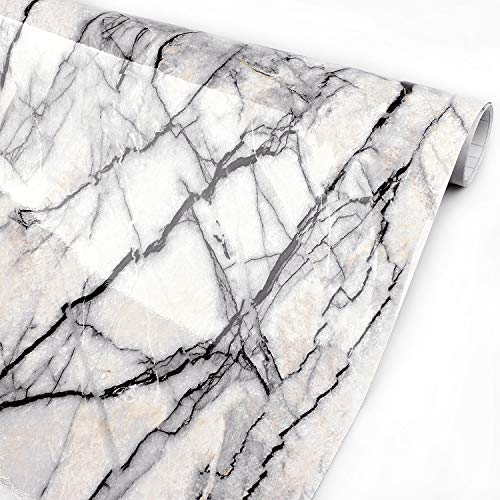 Timeet Marble Paper 15.7 x 78.7 Self-Adhesive Film Decorative Kitchen Countertop Creative Covering Waterproof Film Peel and Stick Paper-Marble Texture