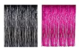 Lobyn Value Packs Black Pink Foil Fringe Door & Window Curtain Party Decoration 3' X 8' (36'' X 96'') (Combo Pack)