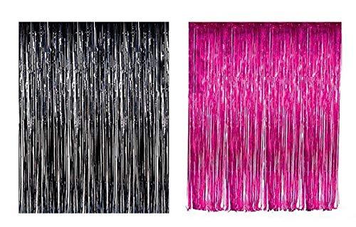 Lobyn Value Packs Black Pink Foil Fringe Door & Window Curtain Party Decoration 3' X 8' (36