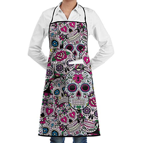 - Wedding Dog Grooming Cleaning Kitchen Apron Large Pocket Waterdrop Resistant Fashion Apron Boys Girls - Sugar Skull Pattern Apron with Large Pocket Polyester Apron