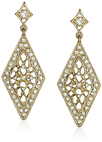 1928 Jewelry Gold-Tone and Crystal Diamond Shape Filigree Drop Earrings