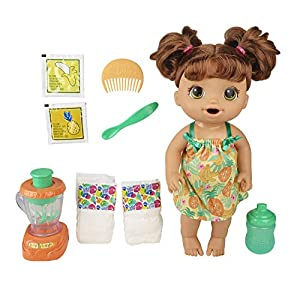 Best Epic Trends 51TexD4hLVL._SS300_ Baby Alive Magical Mixer Baby Doll Tropical Treat with Blender Accessories, Drinks, Wets, Eats, Brown Hair Toy for Kids…