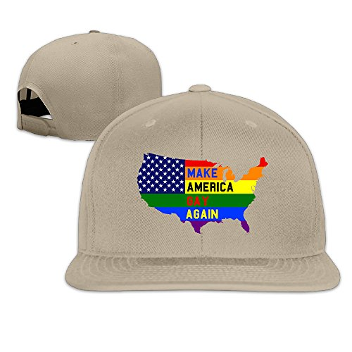 VOLTE Make Amerca Gay Again Rainbow Lesbian Gay Pride LGBT Flat Bill Snapback Adjustable Ball Cap Hat Natural