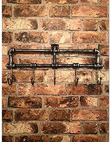 b465a42ffd Garden Mile® Retro Victorian Style Industrial Pipework Wall Mounted Coat  Rack, 5 Hooks Coat