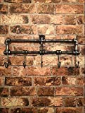 Garden Mile Retro Victorian Style Industrial Pipework Wall Mounted Coat Rack, 5 Hooks Coat Hangers Metal Hat And Coat Stand Urban Chic Home Decor