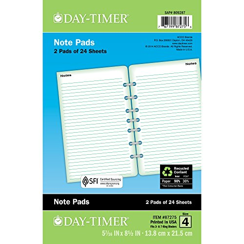 Day-Timer Lined Note Pages, Loose-Leaf, Desk Size, 5.5 x 8.5 Inches, White, 2 Pack - Notes Lined Day Timer