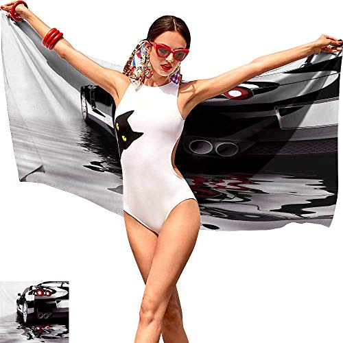 Bathroom Body Shower Towel,Cars,Modern Black Car with Water Reflection Prestige Fast Engine Performance Lifestyle,Black Red White.jpgsuitable for Home, Travel, Swimming Use 20