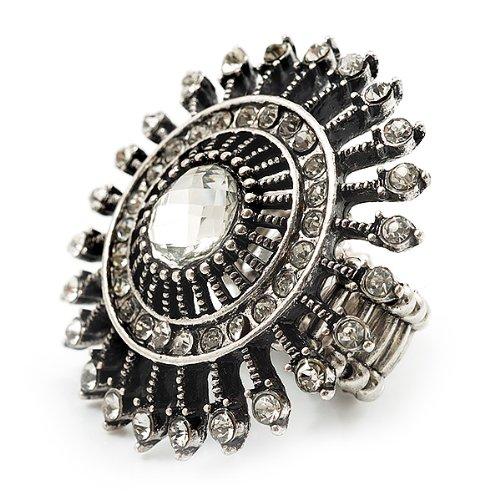 Avalaya Vintage Filigree Crystal Stretch Ring (Burn Silver Metal) - 4cm Diameter y4DLUH