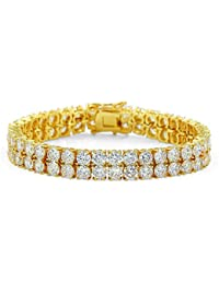 2 Rows AAA Cubic Zirconia Iced Out Tennis Bling Lab Simulated Diamond Bracelet
