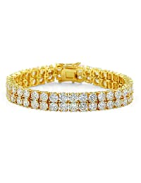 JINAO 2 Rows AAA Gold Silver Iced Out Tennis Bling Lab Simulated Diamond Bracelet 8'' 7''¡