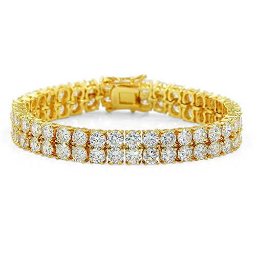 "JINAO 2 Rows AAA Gold Silver Iced Out Tennis Bling Lab Simulated Diamond Bracelet 8"" (Gold)"