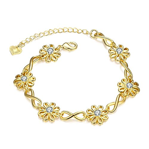 Gnzoe Jewelry Copper Gold Flower Shape Crystal Bracelet Bangle For Brides Women On Wedding Gold