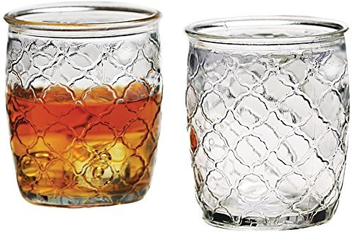 Circleware Garden Gate Clear DOF Drinking Glasses Set, 14 Ounce, Set of 4, Limited Edition Glassware Drinkware Barware Drink Juice Whiskey Cups