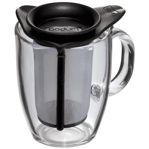 Bodum Yo-Yo Set Mug and Tea Strainer, 12-Ounce, Black