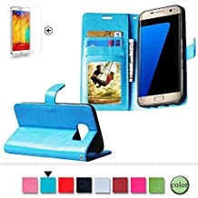 Samsung Galaxy S3 Mini Case Cover [with Free Screen Protector], Funyye Classical Pure Colour Premium Folio Leather Wallet Magnetic Flip Cover with [Credit Card Holder Slots] Book Type Style With Ultra Thin Fitted Protective Cover Shell for Samsung Galaxy S3 Mini - Blue