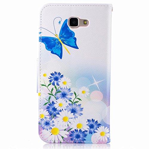 Custodia Samsung Galaxy J5 Prime / G570F Cover Case, Ougger Blue Butterfly Portafoglio PU Pelle Magnetico Stand Morbido Silicone Flip Bumper Protettivo Gomma Shell Borsa Custodie con Slot per Schede