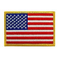 Bandera estadounidense Parche bordado Borde de oro EE. UU. Estados Unidos de América Uniforme militar Emblema