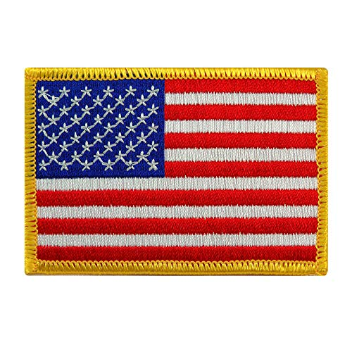 - American Flag Embroidered Patch Gold Border USA United States of America Military Uniform Emblem
