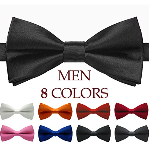 Mens and Boys Classic Pre Tied Satin Formal Tuxedo Bowtie Adjustable Length Large Variety Colors (Boys Black Satin)