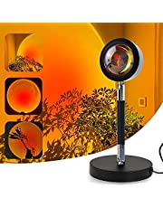 Outlines Sunset Lamp, Rainbow Projector Night Light, 360° Rotatable Aluminum Alloy Romantic Lights, Red Light Lamp Projector for Party, Photography