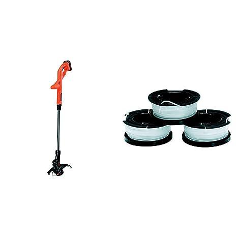 Black+Decker ST182320 Batería cortabordes y desbrozadora + Black+Decker A6485-XJ 3 bobinas de Hilo Reflex Simple para cortabordes
